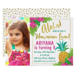 Photo Hawaiian Luau Birthday Invitation