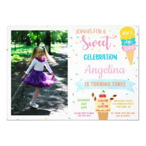 Photo Ice cream birthday invitation Sweet party
