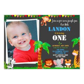 Photo Jungle 1st birthday invitation