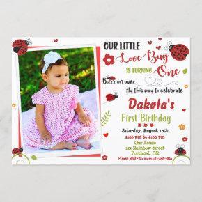 Photo Ladybug 1st birthday invitation Girl love