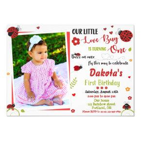 Photo Ladybug 1st birthday invitation Girl love