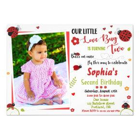 Photo Ladybug birthday invitation Girl love bug