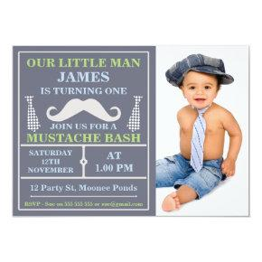 Photo Little Man Mustache Birthday Invitations