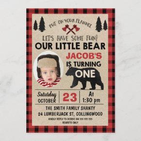 Photo Lumberjack 1st Birthday Party Invitation