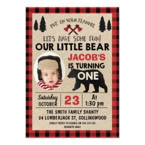Photo Lumberjack 1st Birthday Party Invitation