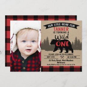 Photo Lumberjack Bear Cub 1st Birthday Invitation