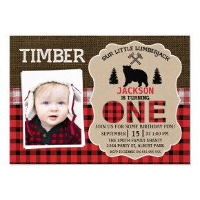 Photo Lumberjack Burlap 1st Birthday Invitations