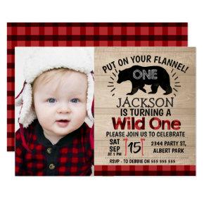 Photo Lumberjack Wood 1st Birthday Invitations