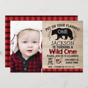 Photo Lumberjack Wood 1st Birthday Invitation