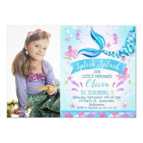 Photo Mermaid Or Under The Sea Birthday invitation