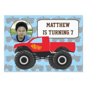 Photo Monster Truck Birthday Invitations