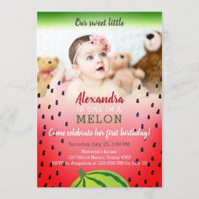 Photo One in a Melon 1st Birthday Invitation