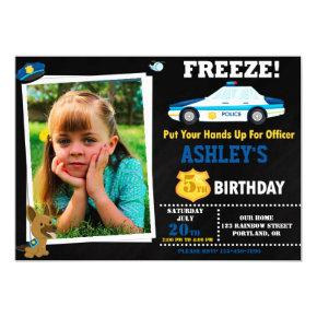 Photo Police officer birthday invitation Badge