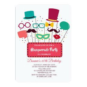 Photo Props Masquerade Party Invitation
