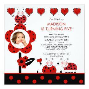Photo Red & Black Ladybug Birthday Invitations