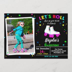Photo Roller birthday invitation Sk8 invitation