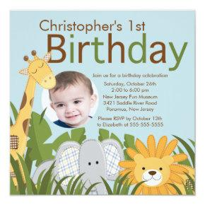 Photo Safari Jungle Animal Kid Birthday Party Invitation