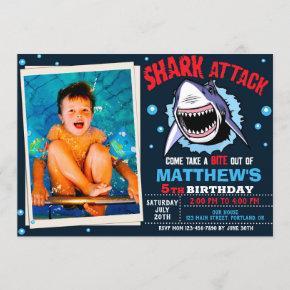 Photo Shark attack birthday invitation