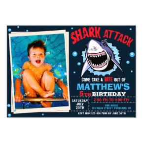 Photo Shark attack birthday invitation