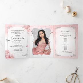 Photo Spanish Light Pink Silver Quinceanera Tri-Fold Invitation