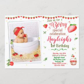 Photo Strawberry birthday invitation 1st birthday