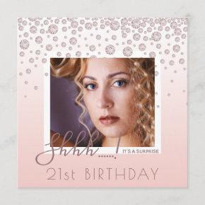 Photo Surprise Birthday Party rose gold diamonds Invitation