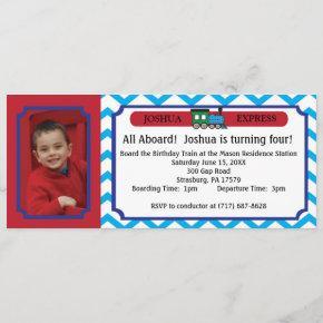 Photo Train Ticket - Blue Chevron Stripes Invitation