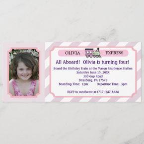 Photo Train Ticket - Pink Stripes Invitation