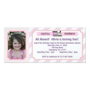 Photo Train Ticket - Pink Stripes Invitations
