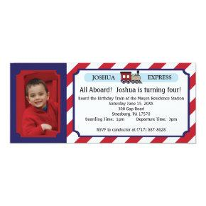 Photo Train Ticket - Red Stripes Invitation