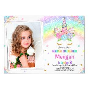 Photo Unicorn birthday invitation Magical invite