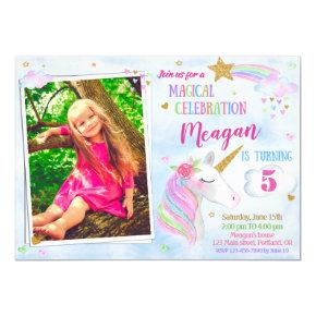 Photo Unicorn birthday invitation Magical unicorn