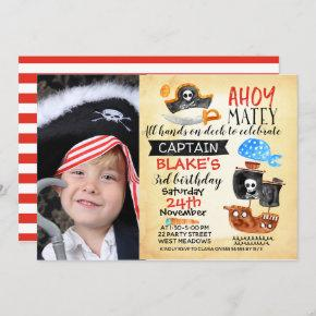 Photo Watercolor Ahoy Pirate Birthday Invitation