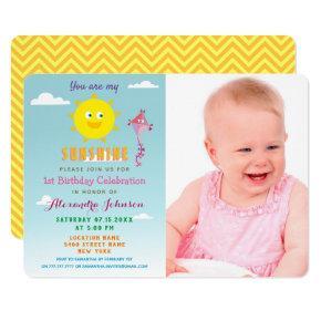 Photo You are my Sunshine, Girl 1st Birthday Invitation