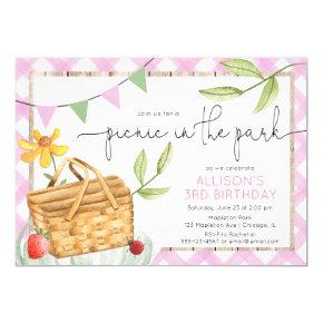 Picnic in the park pink summer birthday party invitation