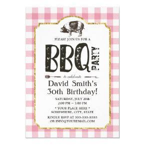 Pig Roast BBQ Birthday Party Pink Plaid Invitations
