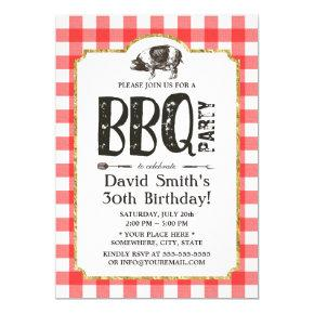 Pig Roast BBQ Birthday Party Red Plaid Invitations