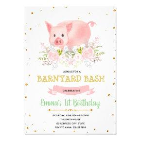 Piggy party farm birthday invitation