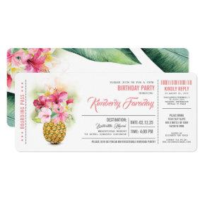 Pineapple Beach Boarding Pass Ticket Birthday Invitation