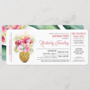 Pineapple Beach Boarding Pass Ticket Birthday Invitation