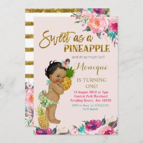 Pineapple birthday invitation African American