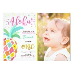 Pineapple birthday invitation Tropical Luau Hawaii