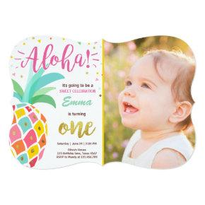 Pineapple birthday Invitations Tropical Luau Hawaii