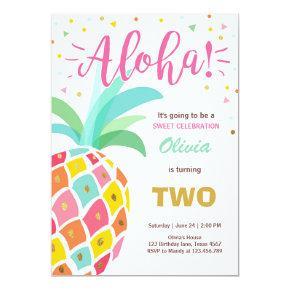 Pineapple birthday Invitations Tropical Luau Hawaii