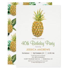 Pineapple Birthday Party Invitations