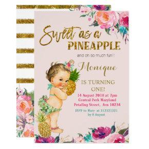 Pineapple FIRST Birthday Invitation