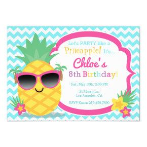 Pineapple Luau Birthday Party Invitations