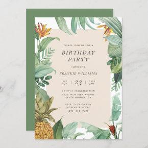 Pineapple & Tropical Leaves Modern Birthday Party Invitation