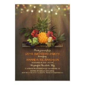 Pineapple Tropical Lights Beach Birthday Party Invitation