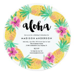 Pineapple Wreath Party Invitations